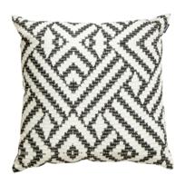 Hartman - Coussin extérieur pour chaise suspendue de jardin, motif gris, grand confort 50 x 50 cm x H 16 cm, déhoussable, motif géométrique gris sur fond blanc