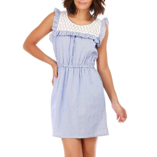 f787866ea1 Lamodeuse - Robe bleue à rayures et dentelle - pas cher Achat ...