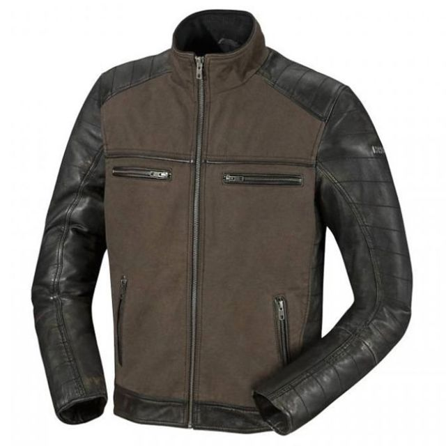 ixs blouson moto jimmy cuir et textile homme vintage t noir vert promo pas cher achat. Black Bedroom Furniture Sets. Home Design Ideas