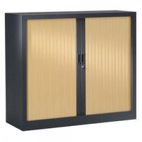 Vinco - Armoire métal à rideaux 100 x 120cm - 2 étagères - anthracite et érable - Installation offerte