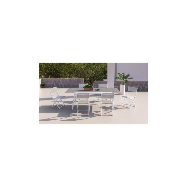 Akasa Cool Ensemble Repas De Jardin - Table A Allonge En Alu Blanc + 6 Chaises Pliantes En Toile Enduite - L 170 / 230 Cm