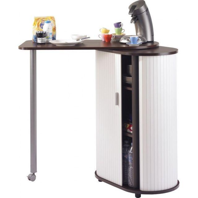 Simmob Table Pivotante et Meuble de Rangement de Cuisine - Coloris - Wengé + Blanc