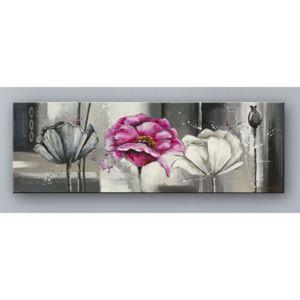 deco soon tableau peinture rose fond noir et blanc 150cm x 1cm pas cher achat vente. Black Bedroom Furniture Sets. Home Design Ideas