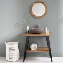 bois dessus bois dessous meuble de salle de bain en bois de teck double plateau