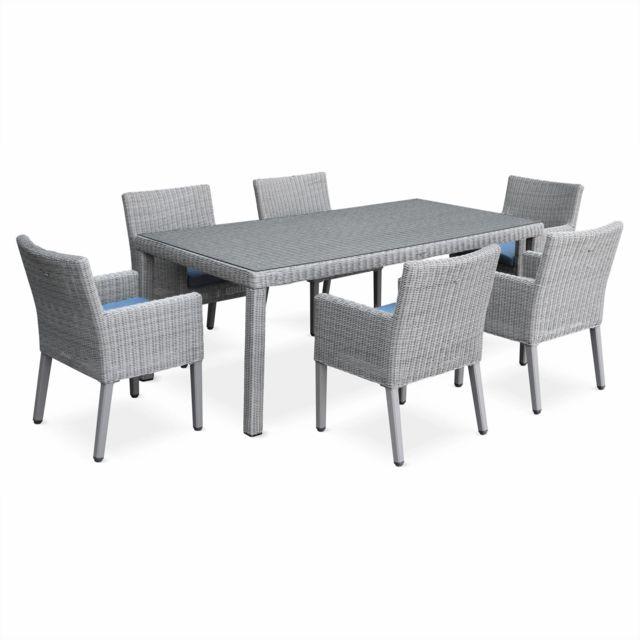 Table de jardin en résine ronde fine - Ceppo - Couleur de résine grise,  Couleur des coussins : gris chiné - 6 fauteuils
