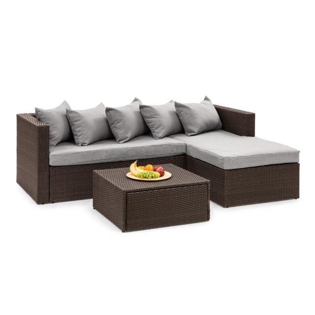 BLUMFELDT Theia Lounge Salon de jardin complet polyrotin marron & gris clair