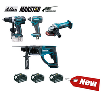 Makita - Ensemble de 4 machines 18 V Li-Ion 4 Ah DDF458 + DTD152 + DHR202 + DGA452 DLX4054MX1