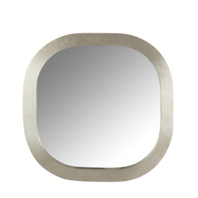 Tousmesmeubles Miroir carré arrondi Bois/Métal argent - Layla