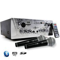 Ltc Audio - Amplificateur Hifi Stéréo Karaoke Usb/BLUETOOTH/SD 2x50W + 2 Microphones noir/silver