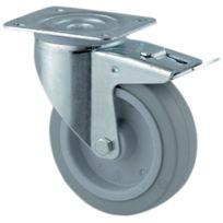 Tente - Roulette Standard De Manutention Gris Souple - Type:Piv.ac blocage - Ø roue mm:160 - Haut. mm:200 - Dim. Platine mm : - Charge kg:300