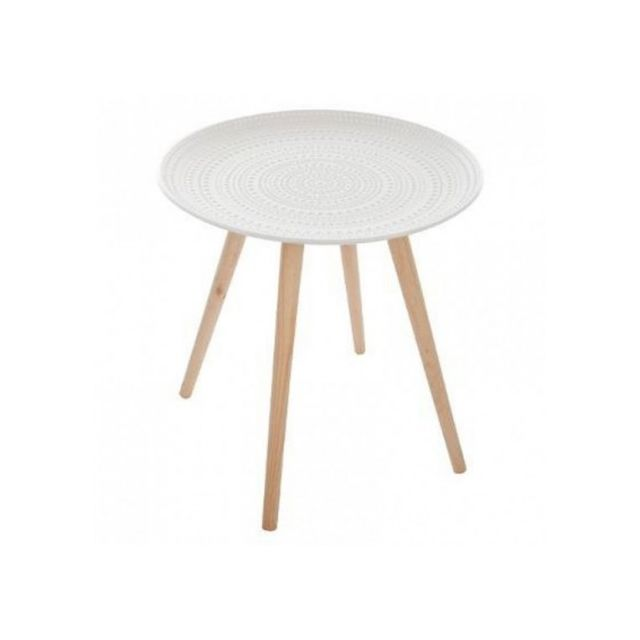 Table Basse Ronde Mileo Blanc Atmosphera