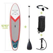 """Stand Up Paddle Gonflable – Pablo 10'10"""" - 15cm d'épaisseur - Pack stand up paddle gonflable SUP, avec pompe haute pression double action, pagaie, leash et sac de rangement inclus"""