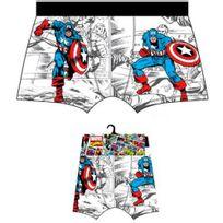 Marvel Comics - Marvel Boxer Homme Coton Captain America Héros Blanc