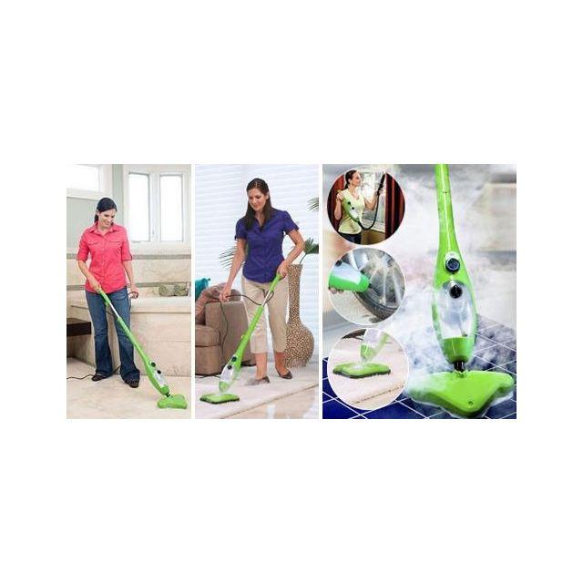 Balai Vapeur Mop - Vert 5 En 1 + Pack propreté