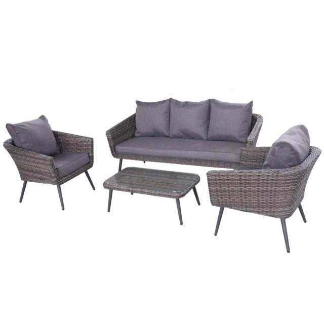 Ensemble salon de jardin scandinave Aluminium 5 places résine  tressée-extérieur -gris / gris - Nils 5