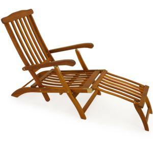 Rocambolesk superbe chaise longue en bois queen mary for Siege longue jardin