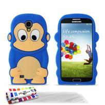 """Muzzano - Coque Souple """"Le Singe"""" Premium Bleu nuit pour Samsung Galaxy S4 + 3 Films de protection ?cran"""