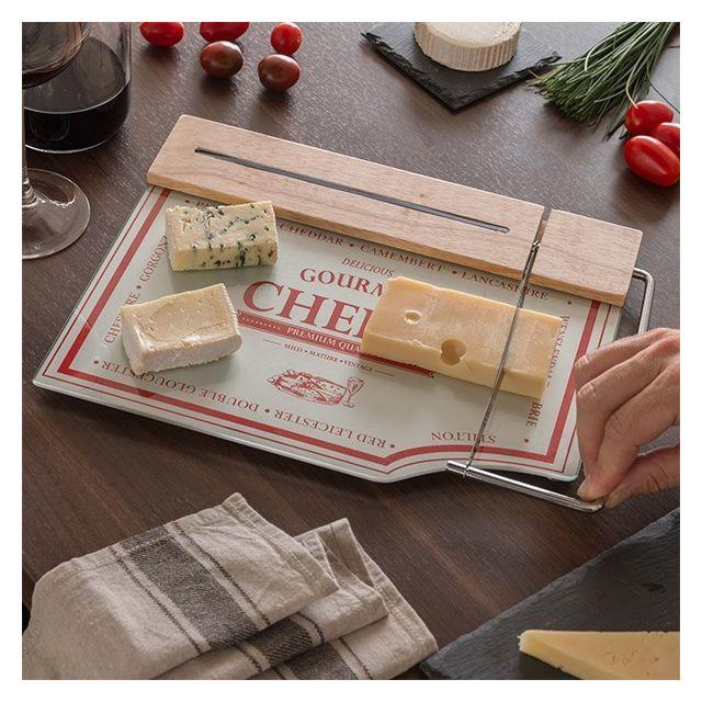 Totalcadeau Planche à découper en bois et en verre avec couteau à fromage - Accessoire cuisine