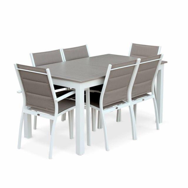 Salon de jardin table extensible - Chicago 210 Taupe - Table en aluminium  150/210cm avec rallonge et 6 assises en textilène