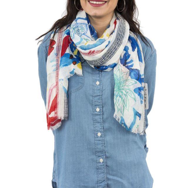 Desigual - Foulards 18saww64 blue flower bleu - pas cher Achat   Vente  Echarpes, foulards - RueDuCommerce 029bd16bbe7