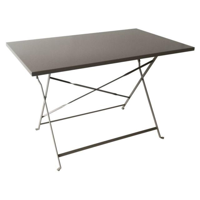 Table de balcon en acier Madera taupe L.110 x l.70 cm. Structure en acier. Dimensions : 110 x 70 cm. Coloris taupe