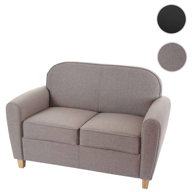 Mendler Canapé à 2 places Malmö T377, canapé lounge, style rétro des années 50 ~ gris, tissu