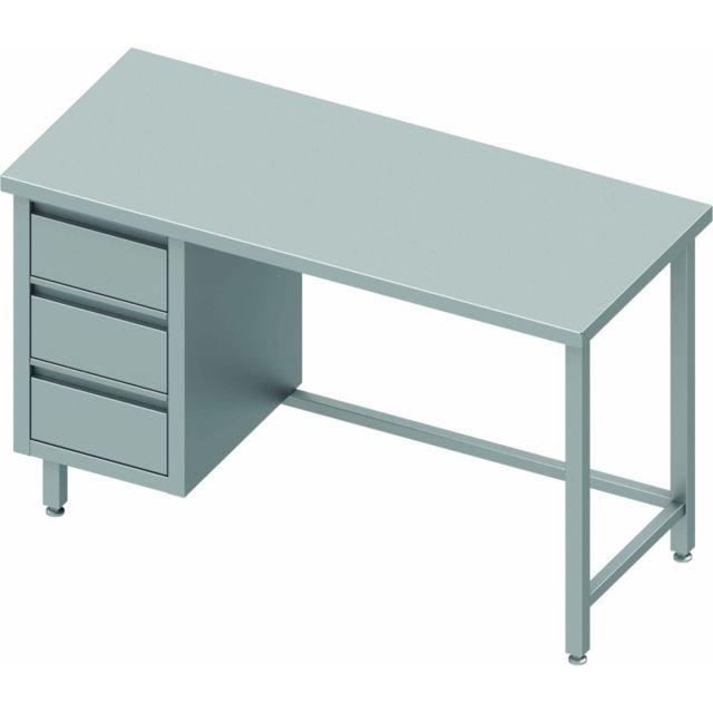 Materiel Chr Pro Table Inox 3 Tiroirs A Gauche Sans Dosseret - Gamme 600 - Stalgast - inox 800x600 600