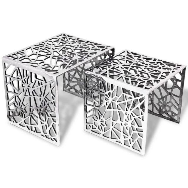 Distingué Consoles reference Suva Table auxiliaire carrée 2 pièces Aluminium Argenté