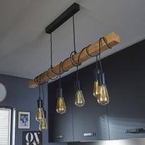 Lampe de suspension linéaire Bois - Noir TOWNSHEND