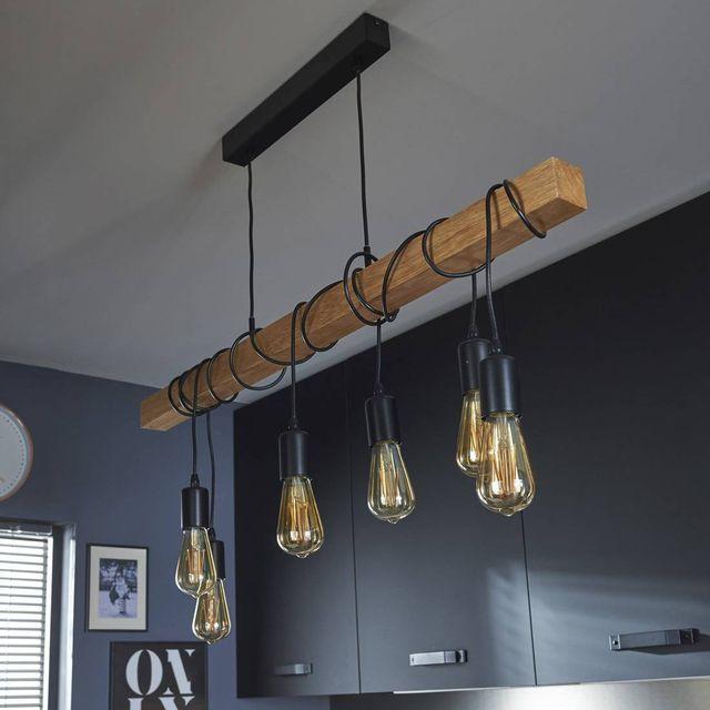 EGLO - Lampe de suspension linéaire Bois - Noir TOWNSHEND