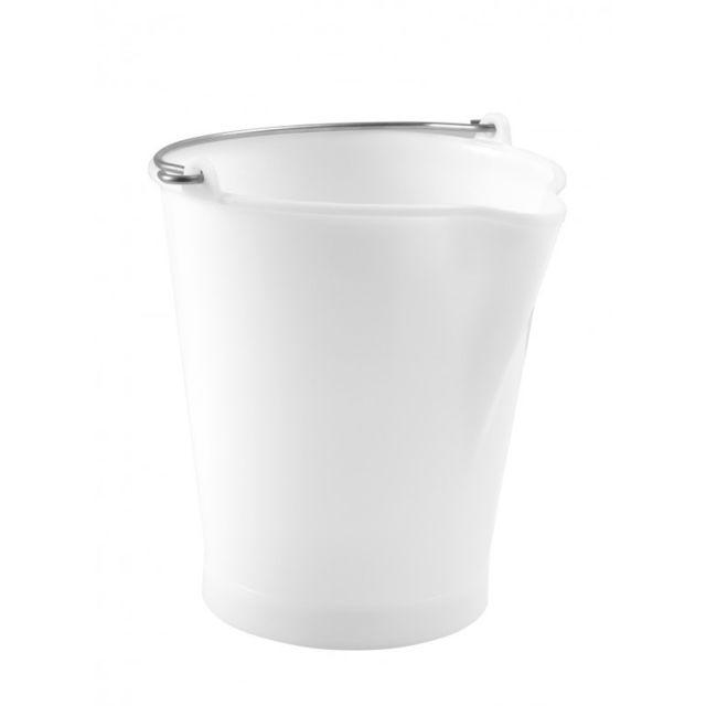 gilac seau 12 litres blanc avec bec verseur et anse inox pas cher achat vente poterie bac. Black Bedroom Furniture Sets. Home Design Ideas