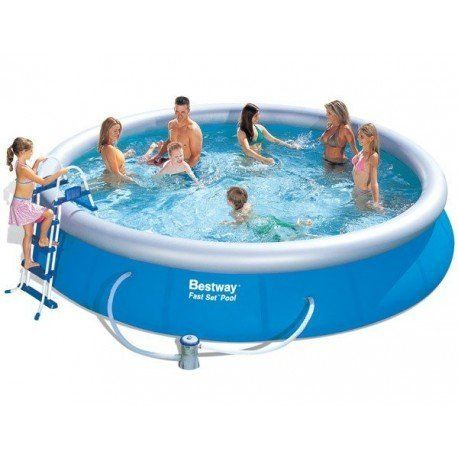 bestway kit piscine autoportante ronde 4 57m x 91cm avec filtre cartouche une chelle. Black Bedroom Furniture Sets. Home Design Ideas