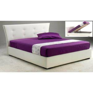 inside 75 lit coffre metropolis haut de gamme avec t te de lit 160 200 cm cuir blanc pas. Black Bedroom Furniture Sets. Home Design Ideas
