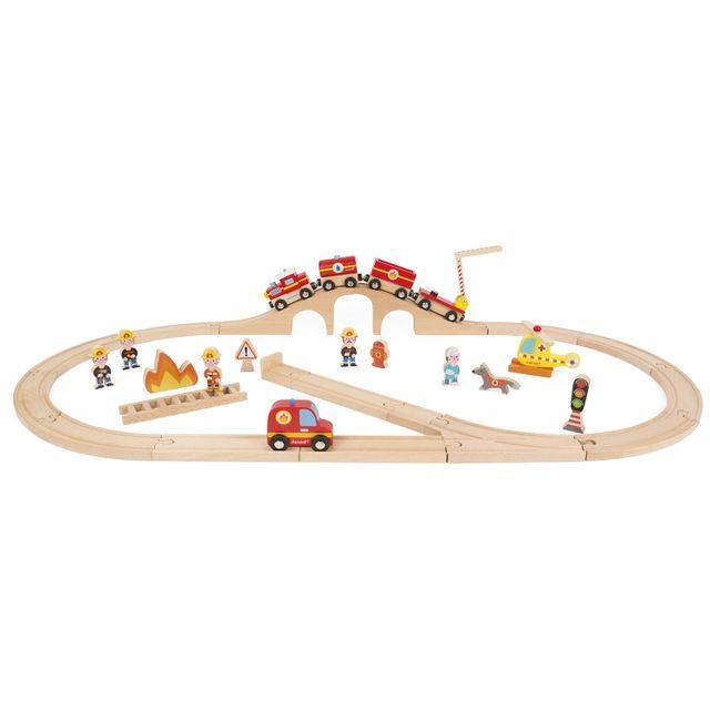 Janod Story Express Pompiers : Grand univers avec 13 pièces, train et circuit