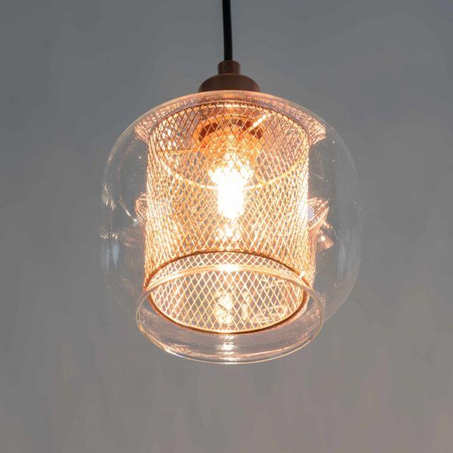 Kosilum Suspension cuivre et verre 1 lumière - Acacia