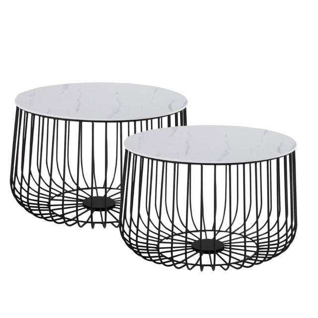 IDIMEX Lot de 2 tables d'appoint PADOVA paniers en métal tables à café tables basses rondes bouts de canapé vintage décor marbr