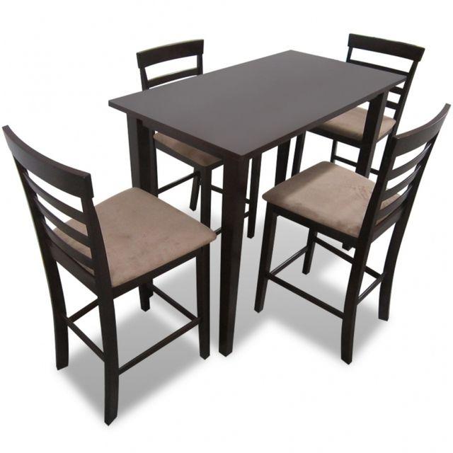 Casasmart Set table et 4 chaises de bar en bois coloris marron