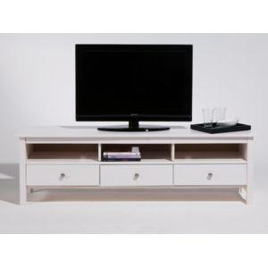 marque generique meuble tv bas en bois massif 3 tiroirs longueur 158cm berna blanc pas. Black Bedroom Furniture Sets. Home Design Ideas