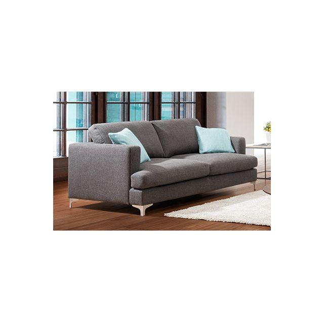 Canapé 2 places pieds métal - coloris anthracite