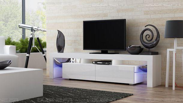 dusine meuble tv spider big led en blanc mat avec. Black Bedroom Furniture Sets. Home Design Ideas