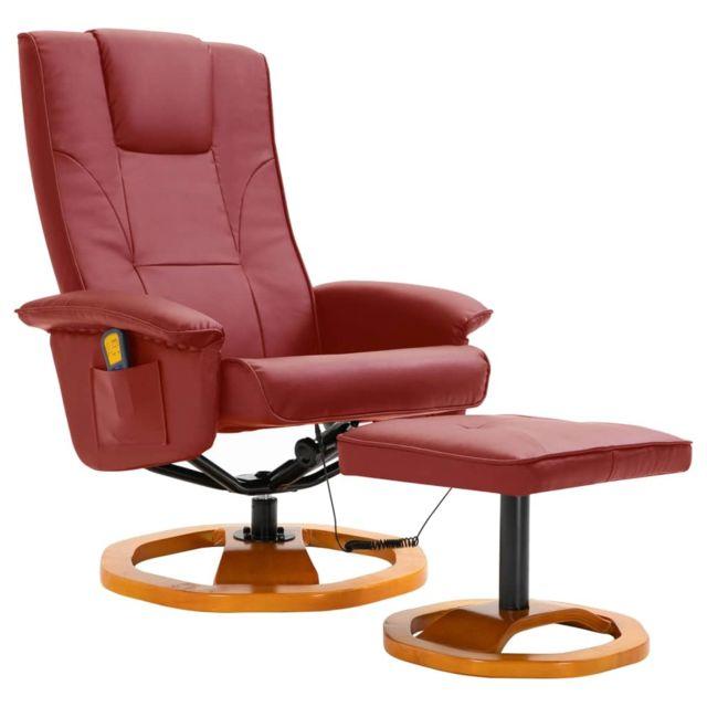 Icaverne - Fauteuils électriques gamme Fauteuil de massage avec repose-pied Rouge bordeaux Similicuir