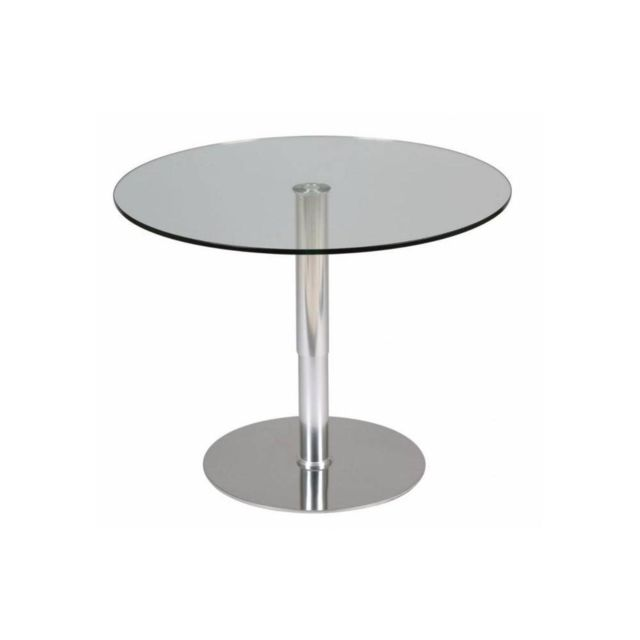 Inside 75 Table relevable ronde Scion en verre transparent piétement acier brossé