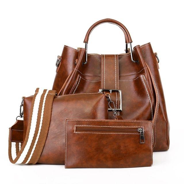 Sac porté épaule 3 en 1 boucle de ceinture cuir Pu à bandoulière pour femme à main Messenger Bag Brown