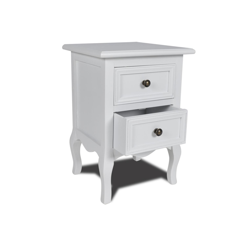 Vidaxl - Table de chevet en pin brossé avec 2 tiroirs, blanche