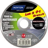 Norton - Lot De 3 + 1 Meules Multi Coupe 125 X 1,6 X 22,2 Mm