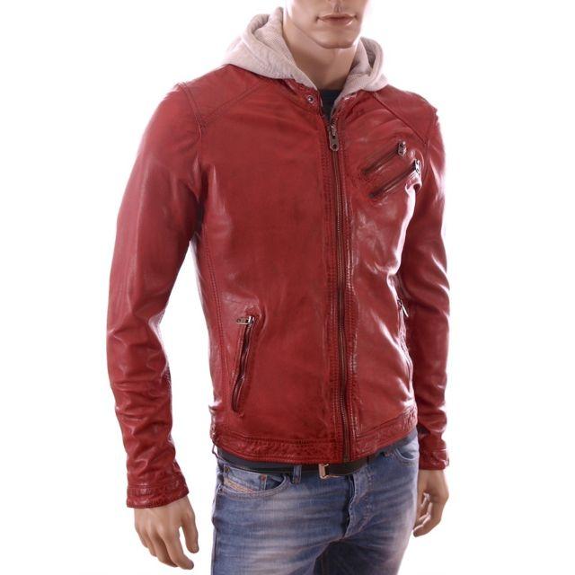 Redskins Veste à capuche en cuir homme Slim fit Josh
