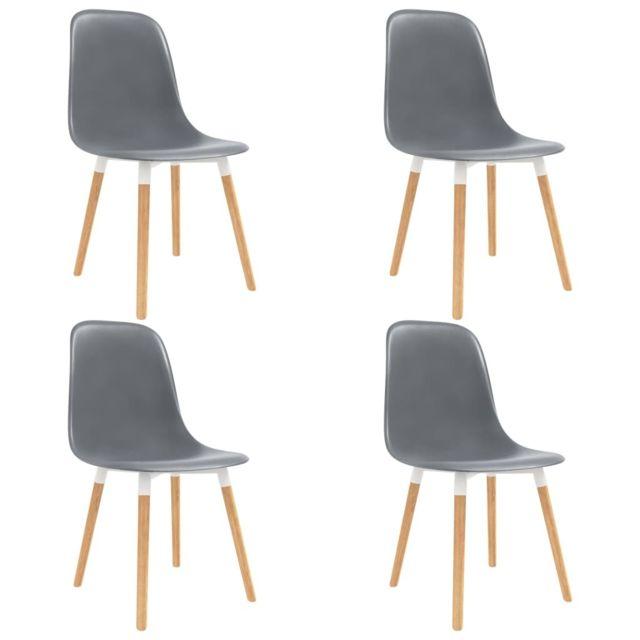 Magnifique Fauteuils et chaises reference Paramaribo Chaises de salle à manger 4 pcs Gris Plastique