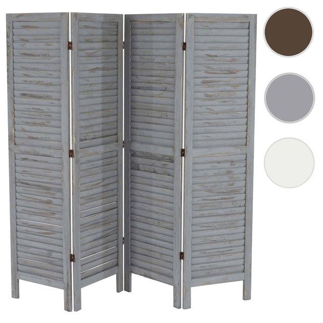 mendler paravent separation bois 4 pans 182x2x170cm shabby vintage gris 2cm x 170cm. Black Bedroom Furniture Sets. Home Design Ideas