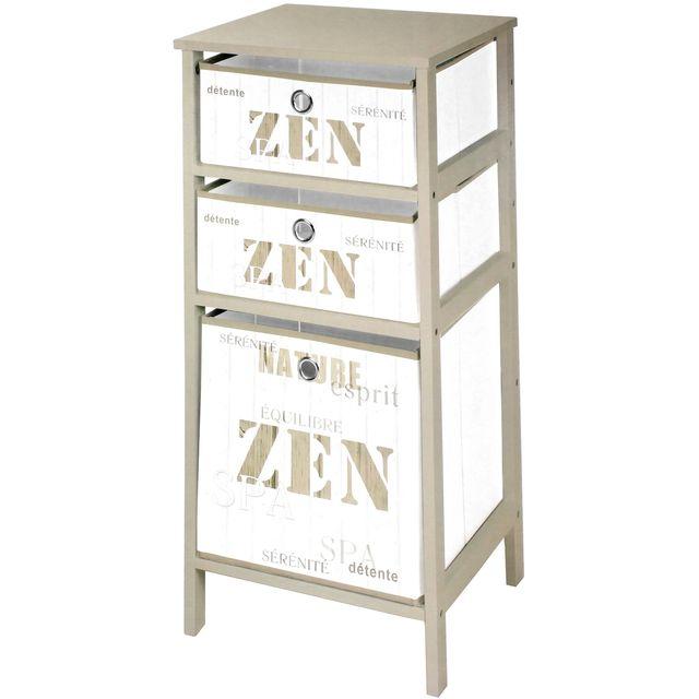 Promobo meuble etag re de rangements en bois avec trois - Meuble rangement avec panier ...