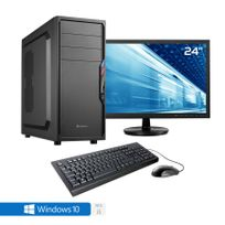 """Pack complet Pc de bureau Intel i5-7500 4x 3.40Ghz max 3.8Ghz Intel Hd- Graphics 630, 8 Go Ram Ddr4 2400Mhz, 250 Go Ssd, 1 To Hdd, Usb 3.0, Wifi, Alim 80+. Unité centrale avec moniteur Tft-led 23.6"""", clavier & souris et Windows 10 64 Bit"""
